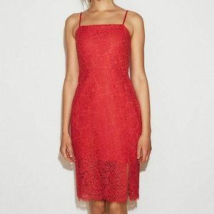 Express Red Lace Sheath Dress Women's Size 14